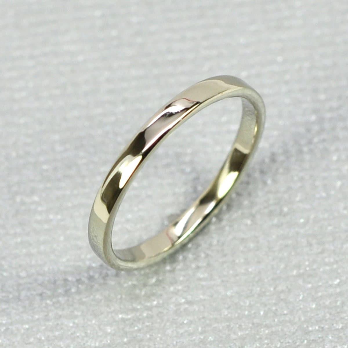 White Gold Wedding Band 14K White Gold Skinny Ring 2mm Sea