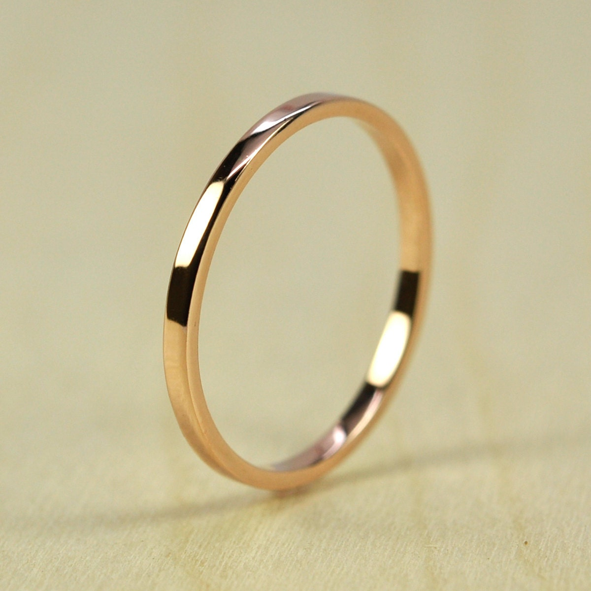 gold wedding band stacking ring 1 5mm by 1mm