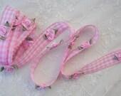 Scalloped PINK WHITE Gingham Checkered Rose Flower Ribbon Trim Baby Sewing Scrapbooking Card Making