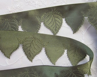 2 inch GREEN Satin Leaf Cut Out Rose Embossed Ribbon Trim Pageant Hat Couture Scrapbooking