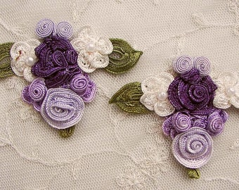2 pc Handmade LAVENDER PURPLE IVORY woven flower applique embellished w pearl leaves