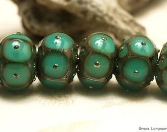 Seven Ocean Green w/Metal Dots Rondelle Beads Raised dots design - Handmade Glass Lampwork Bead Set 10505101