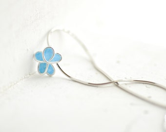 Aqua Blue Forget Me Not Flower Pendant Necklace, 1st Anniversary Gift Paper Jewelry, Bridesmaid Wedding Gift, Something Blue, New Mom Baby
