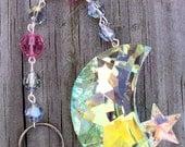 Moon and Star Crystal Suncatcher, Iridescent Crystal Suncatcher, Window, Outdoor, crystal