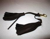 Handmade dual tassel gen leather brown golden clasp for Coach bag
