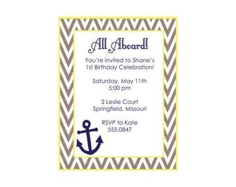 Anchor Birthday Invitation or baby shower invitation (set of 10)