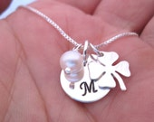 Personalized jewelry  - Initial Necklace - Four leaf Clover Necklace - Lucky Necklace - Good Luck Charm -