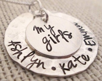 Personalized Jewelry - My Girls Necklace - Mothers Necklace - hand stamped jewelry