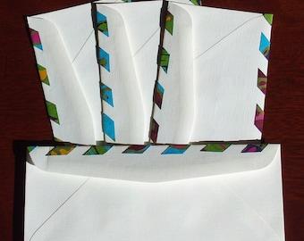 set of 4 upcycled mailing envelopes parcel type pagoda blue