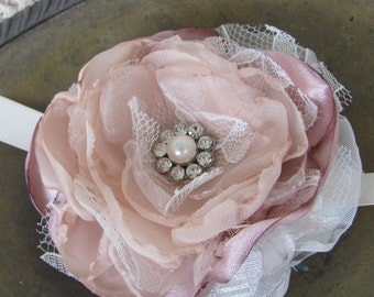 Wedding Wrist Corsage, Bridal Corsage, Fabric Corsage, bridesmaids corsage, Bridal Accessory, Rustic  Chic Corsage, /Dusty Rose  Corsage