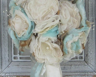 Burlap  Bouquet Ivory and Robbins Egg Blue by Burlap And Bling Design Studio