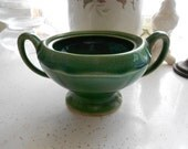 Very Old Pottery Green Double Handled Sugar Bowl with no lid