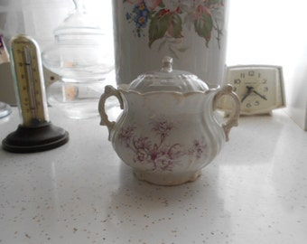 Vintage Porcelain Sugar Bowl with lid and double handles White with lavender purple flowers No markings