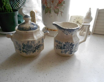 Vintage Creamer and Sugar Bowl with Lid Set Kensington Staffordshire Ironstone England Balmoral 1801 Blue and White