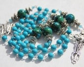 Reserved for ALISON - Catholic Rosary with Turquoise & Chrysocolla Beads