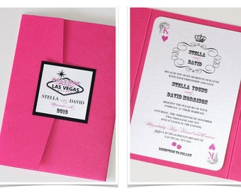 Stella Las Vegas Wedding Invitation - Casino Invitation - Playing card Invitation - Bachelorette Pary - Hot Pink, White and Black - Sample
