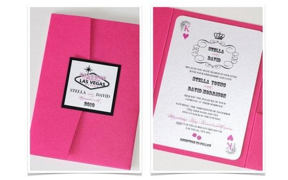 Stella Las Vegas Wedding Invitation Casino Invitation – Black White and Pink Wedding Invitations
