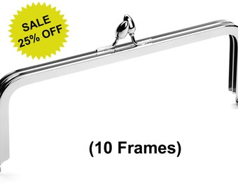 "10pcs - 8"" x 3"" Nickel Purse Frame with Teardrop Clasp - Free Shipping (PURSE FRAME FRM-100)"