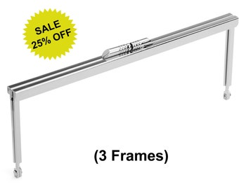 """3pcs - 8"""" x 3"""" Nickel Purse Frame with Modern Style Clasp - Free Shipping (PURSE FRAME FRM-116)"""