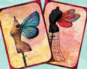 DRESS FORMS with Butterfly Wings Digital Collage Sheet 2.5x3.5in Fairy Whimsical - no. 0063
