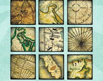 VINTAGE MAPS Digital Collage Sheet 1in Squares - no. 0073
