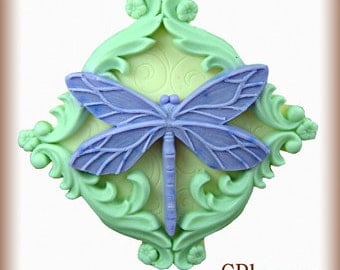 2D Silicone Soap/Polymer Clay/Cold Porcelain Clay/Plaster Mold - Dragonfly - free shipping