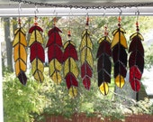 Garnet and Gold  Indian Chief  Eagle Feather  stained glass with Beads