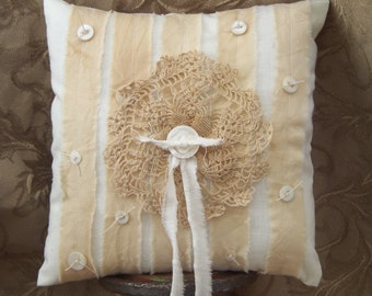 Shabby Chic Ring Bearer Pillow Vintage Doily Mother of Pearl Buttons