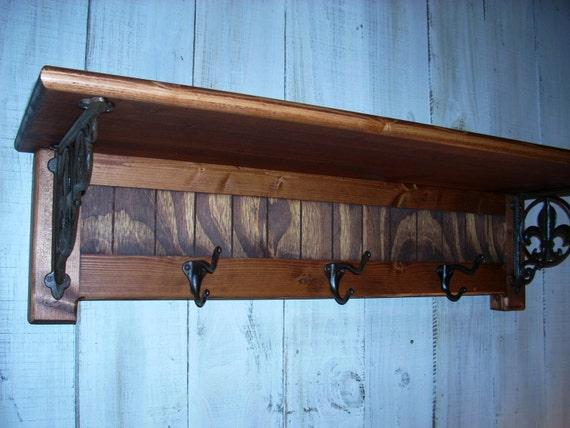 Furniture Shelves Wall Mounted Coat Rack Fleur de Lis Shelf