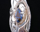 Handmade Sterling Silver, Gold, Rose Gold and Opal Pendant