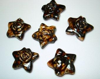 Dark Brown Glazed Porcelain Star Beads (Qty 6) - B1690