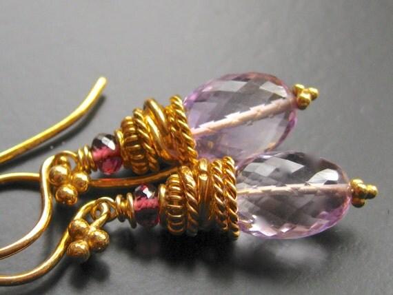 RESERVED for Liz-Pink Amethyst, Rhodolite Garnet, Vermeil Earrings- Amour