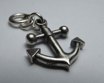 ANCHOR necklace small version solid sterling silver with gunmetal ball chain