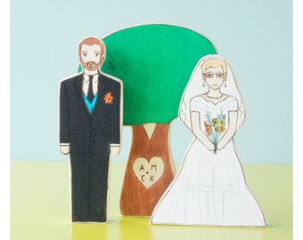 Custom Wedding Cake Topper Couple- Bride/Groom, Brides, or Grooms with Personalized Sweet Heart Tree