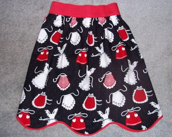 Let Your Curves Show Half Apron - Red, White and Black Apron Print