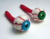 Catnip cat  toy - needle felted bloodshot eyeball with blue iris