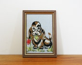 vintage 70s Sweet Puppy Dog Has a Red Rose For You Crewel Embroidery Wall Hanging