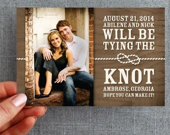 50+ Rustic country save the date cards, with photo - Tied Knot