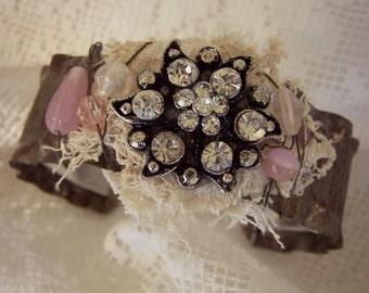 Handmade Assemblage Art Bracelet Vintage Rhinestone  Gypsy Jewelry Vintage Cuff Bracelet Mixed Media Wire Wrapped Bracelet
