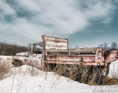 Old abandoned dump truck in a snowy field, Rustic Winter, Industrial Chic, Red White and Blue, Signed Print