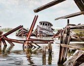 Abandoned Shipyard Twisted Grave, Shipwreck, Old Nautical Vessel, Decaying, Original Signed Print, Color Photograph