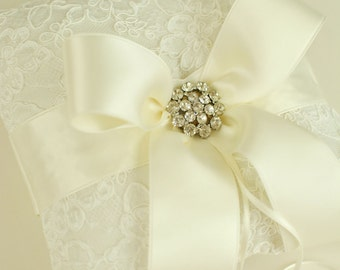 Ivory Ring Bearer Pillow - Alencon Lace Ring Bearer Pillow with Rhinestones