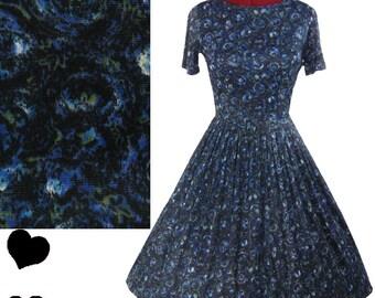 Dress Vintage 50s Black Blue Swirl FULL SKIRT Day Dress S Rockabilly Swing Nylon Pinup