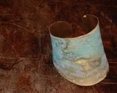 Smashed Bronze Cuff with Lush Mossy Patina