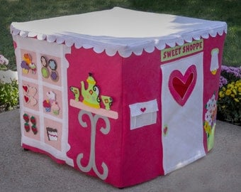 Card Table Playhouse, Cupcake Bakery, Custom Order, Personalized, 40 removable and replaceable pieces