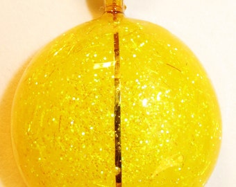 Sparkling Yellow Round 34mm Handmade Handcrafted Pendant Women's Fashion Jewelry with Necklace