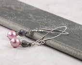 Pearl Earrings Pastel Pink Dusty Rose Smoke Gray Mauve Fancy Sterling Silver Prom Jewelry