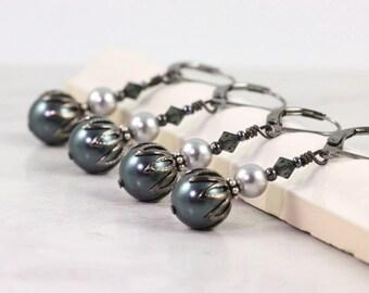 Midnight Blue Bridal Jewelry Gray Pearl Earrings Bridesmaid Earrings Steel Gray Gunmetal Wedding Earrings Bridesmaid Gift Steel Blue Wedding