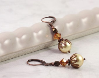 Champagne Gold Pearl Earrings Copper Crystal Antique Copper Ear Wires Old Fashioned Look