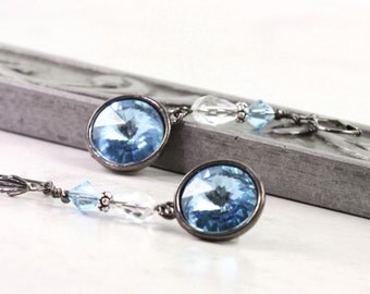 Aqua Drop Earrings, Crystal Rivoli Earrings, Gunmetal Jewelry, Gift for Her, Long Dangle, Light Blue, Prom Jewelry
